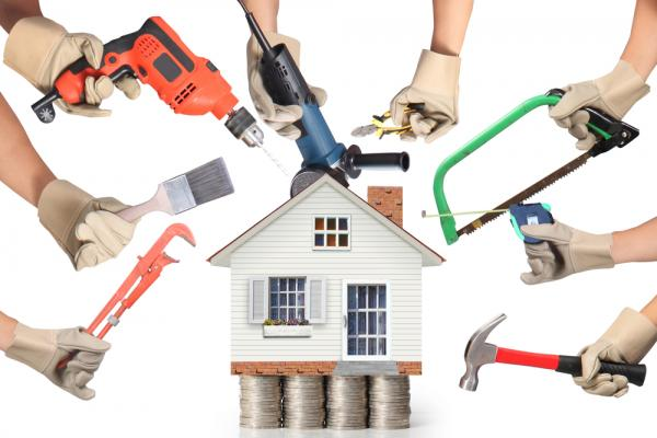 Home improvement tools around a house