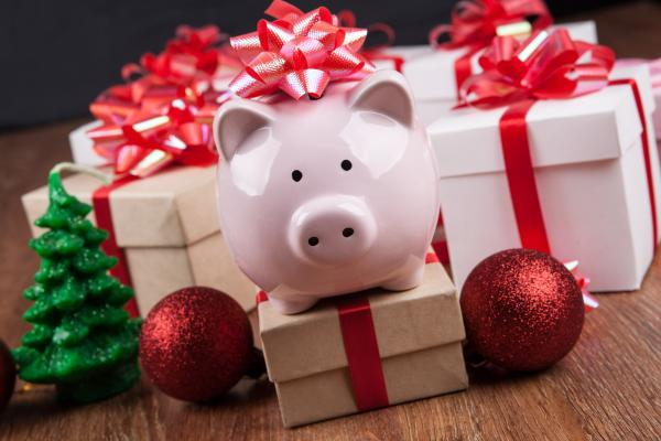 Piggy bank with holiday presents
