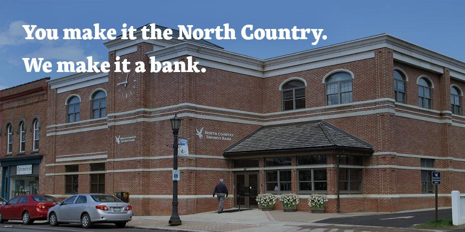 front entrance to a North Country Savings Bank branch